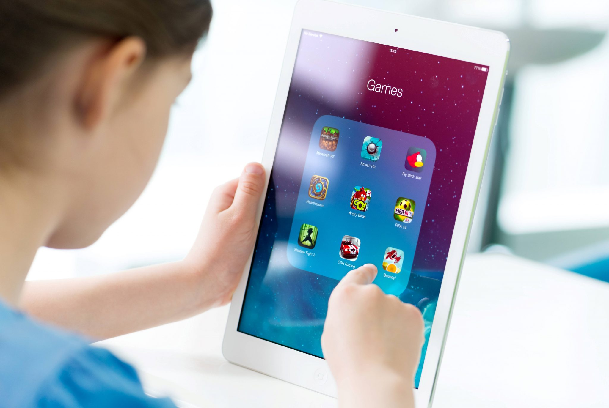 Child using a tablet device